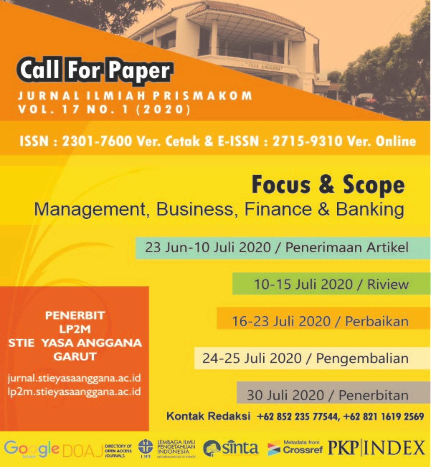 Call Paper Vol. 17 No. 1 Tahun 2020